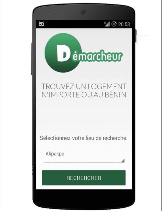 Capture d'écran de Démarcheur, une application qui permet de trouver des maisons à louer partout au Bénin